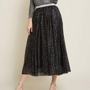 ModCloth Starry Soiree Black Midi Tulle Skirt